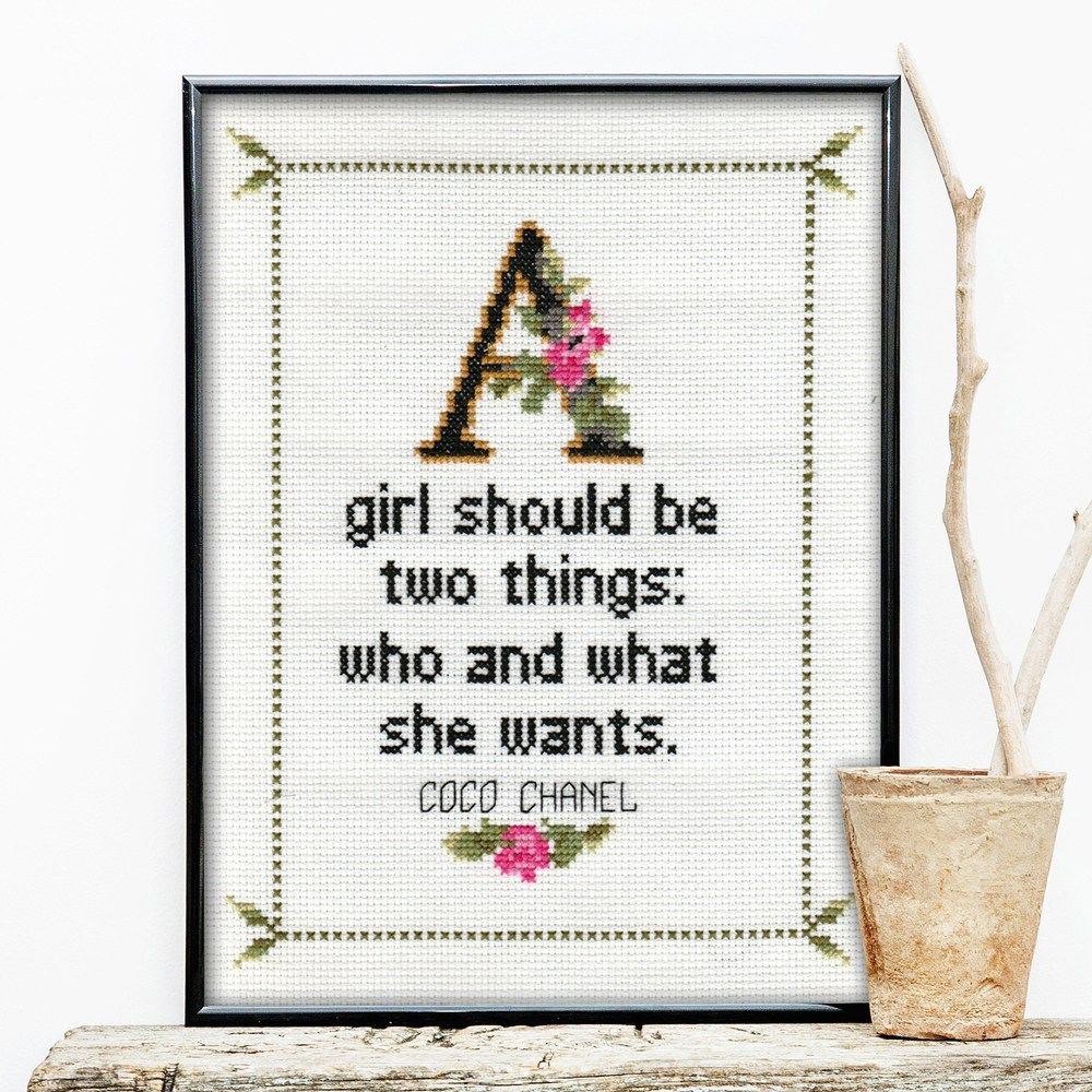 Coco chanel no coco chanel quote cross stitch pattern no