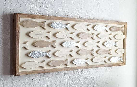 Wood Fish Wall Decor Coastal Decor Wooden Fish Decor Beach
