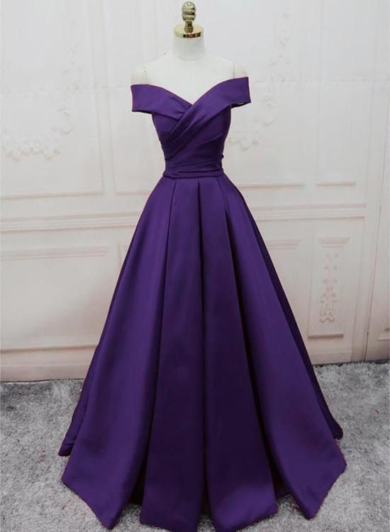 Dark Purple Off Shoulder Satin Long Formal Gown, Prom