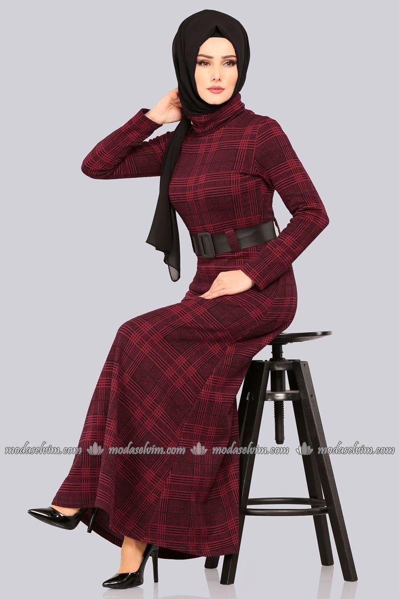 245f3796052ab moda selvim Boğazlı Kışlık Elbise 5488MP186 Bordo | tesettür konbin ...