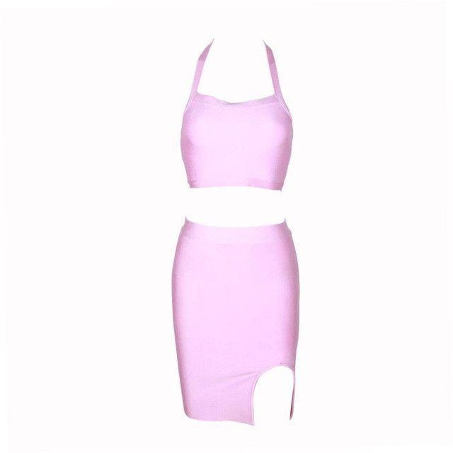 DEIVE TEGER WINTER Brand New Two Piece Set Halter Split Bodycon Fashion Bandage Women Knee-Length Dress