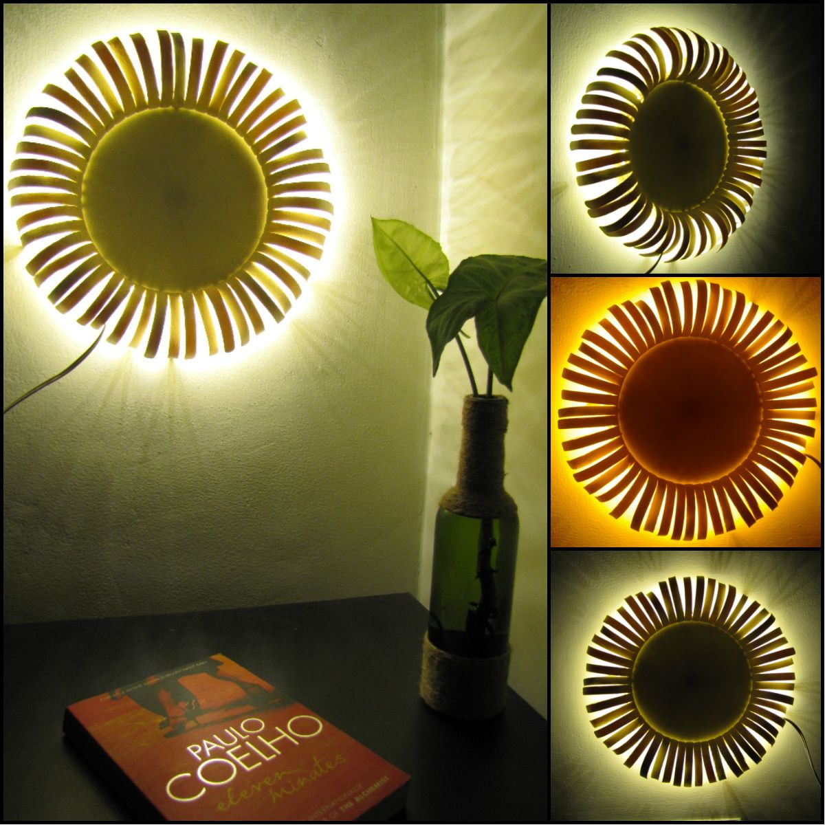 Sunflower Wall Sconce Made Of Popsicle Sticks Victorian