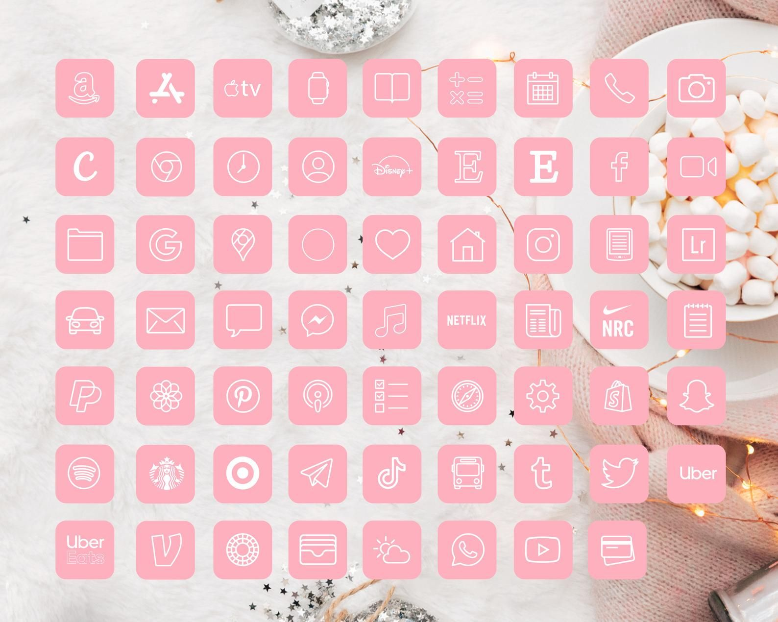 iOS 14 Icons iPhone App Pack   62 Pink App Pack ,