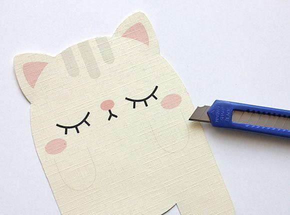 Cute Cat Bookmark Card Diy Bookmark Card Diy Cards Cat Cards
