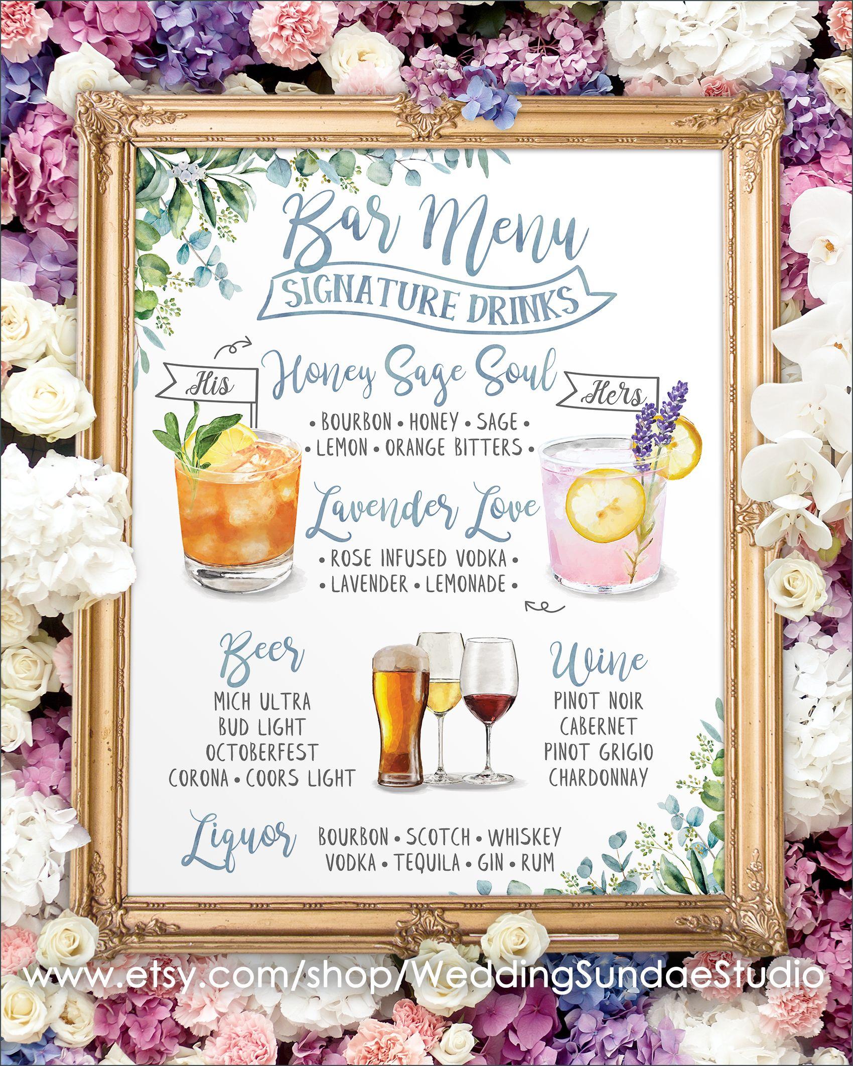 20+ Wedding bar menu signature drinks information