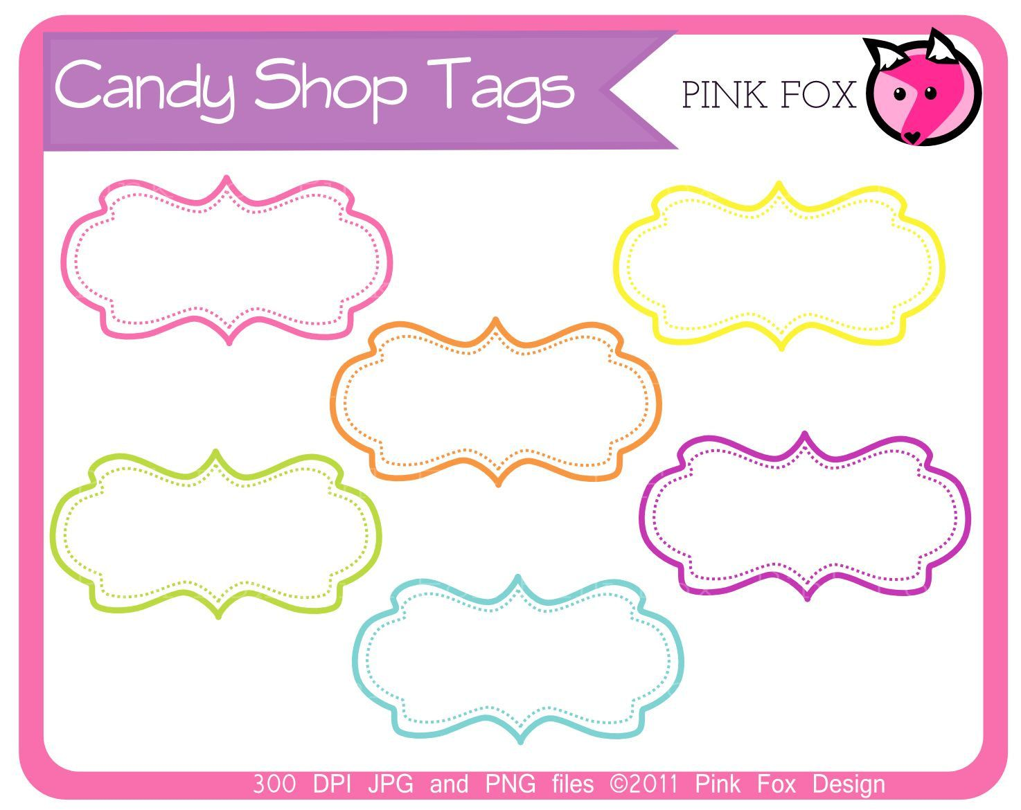 INSTANT DOWNLOAD - candy shop tags - whimsical clipart ...