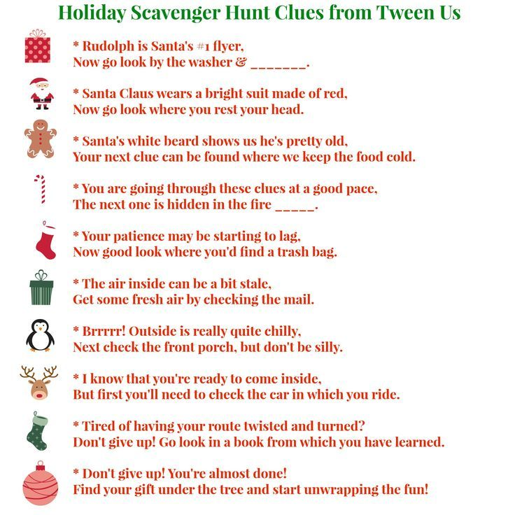 Printable holiday scavenger hunt clues make present