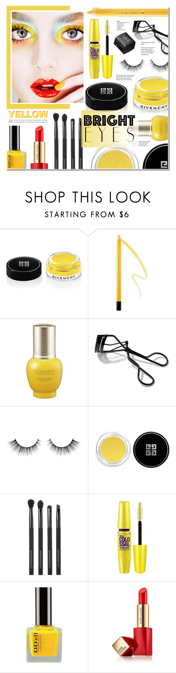 """""""Turn Around, Bright Eyes (Yellow)"""" by anyasdesigns ❤ liked on Polyvore featuring beauty, Givenchy, L'Occitane, Bobbi Brown Cosmetics, Japonesque, Maybelline, Estée Lauder, NARS Cosmetics, Tiffany & Co. and Beauty"""