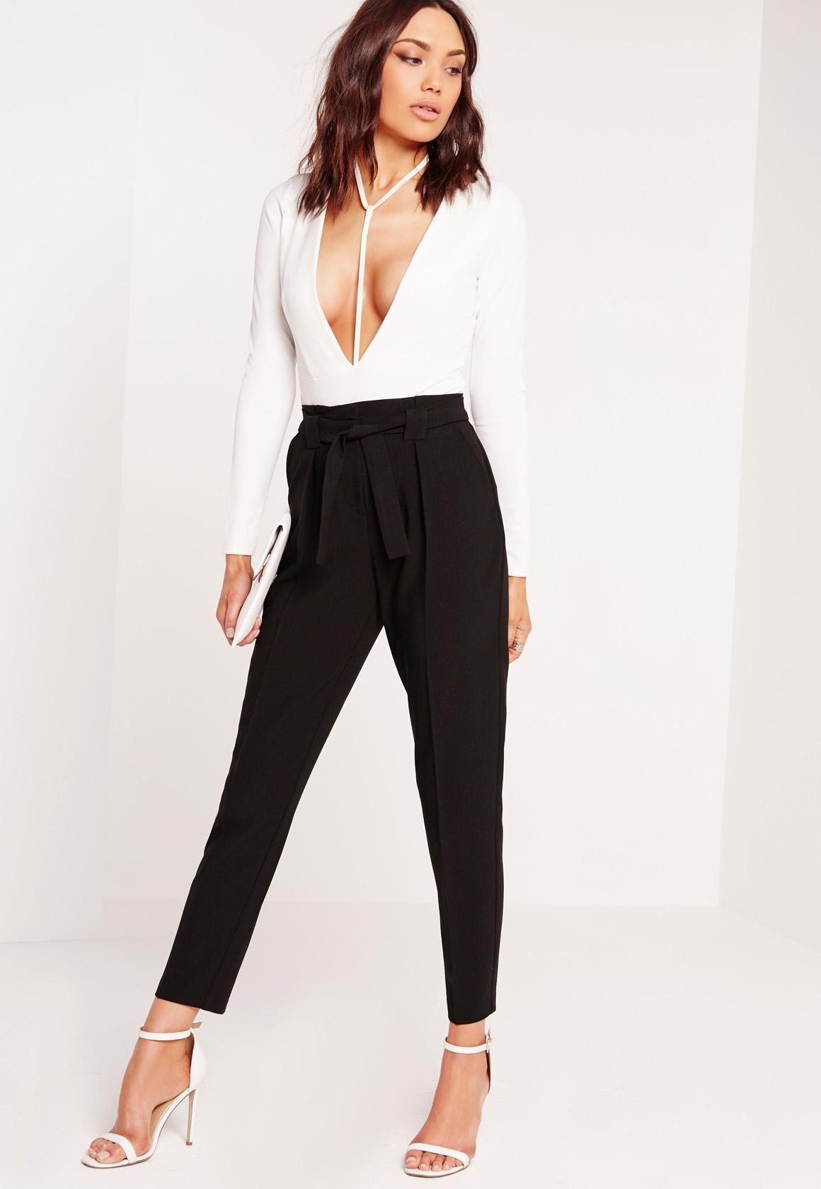 de2811373f62da Missguided - Pleated Waist Tie Belt Cigarette Pants Black | Clothes ...