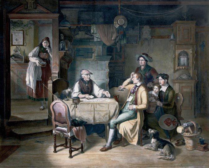 Anton von Schleich (Monaco, 1809 - 1851) Die kartenschlaegerin         Acquaforte dipinta a mano