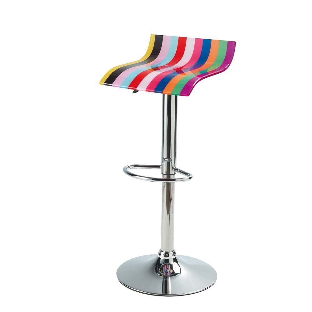 Chrome finish metal and acrylic ...   Neon   Clear bar stools ...
