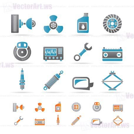 Car Parts And Services Icons Vector Icon Set Automotive
