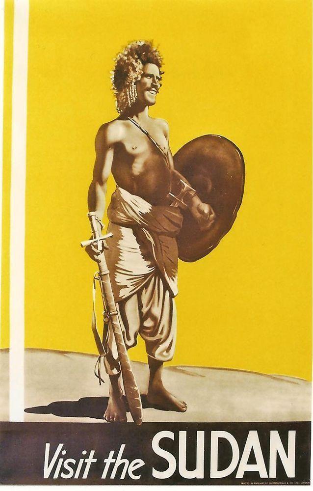 Original vintage poster SUDAN AFRICAN BLACK WARRIOR c.1935