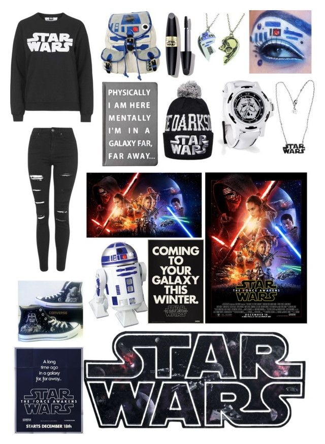 """""""Star Wars The Force Awakens....(Aghhhh, I'm gonna see this today!!!=)"""" by jessicacalumhood1253 ❤ liked on Polyvore featuring Topshop, Converse, R2, Max Factor, Forever 21, women's clothing, women, female, woman and misses"""