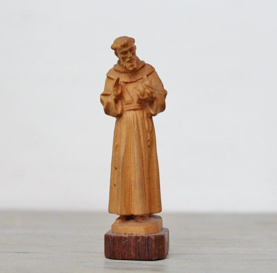 Vintage Anri Hand Carved Wooden St Francis Statue Saint Francis