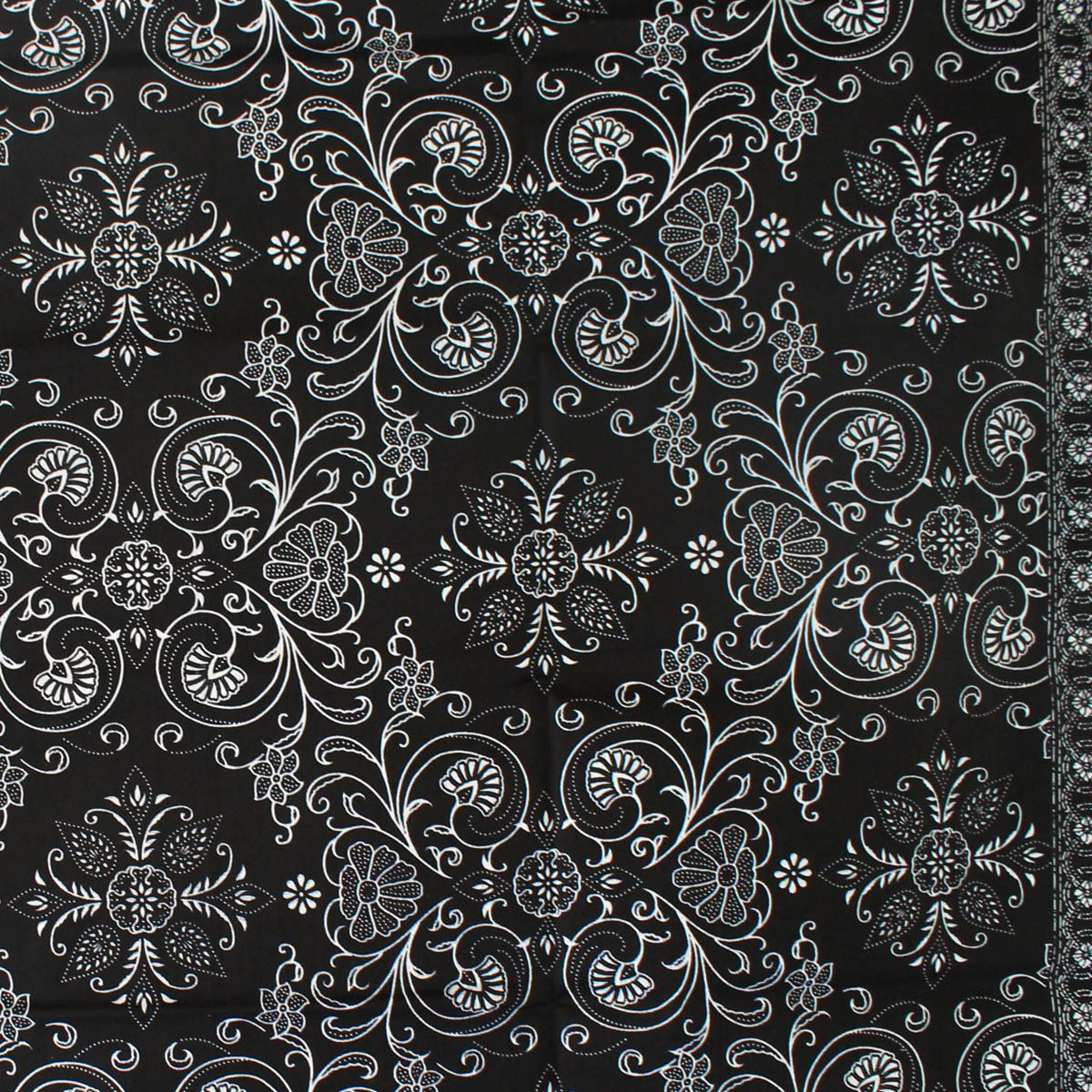 Black And White Vintage Traditional Indonesian Batik Style
