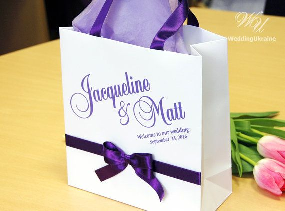 Wedding Welcome Bags with satin ribbon bow and names