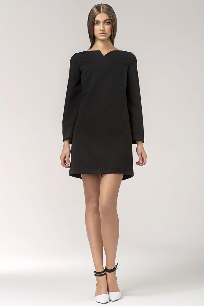 ffd0a78968f Détails sur Robe noire courte trapèze manches longues élégante femme ...