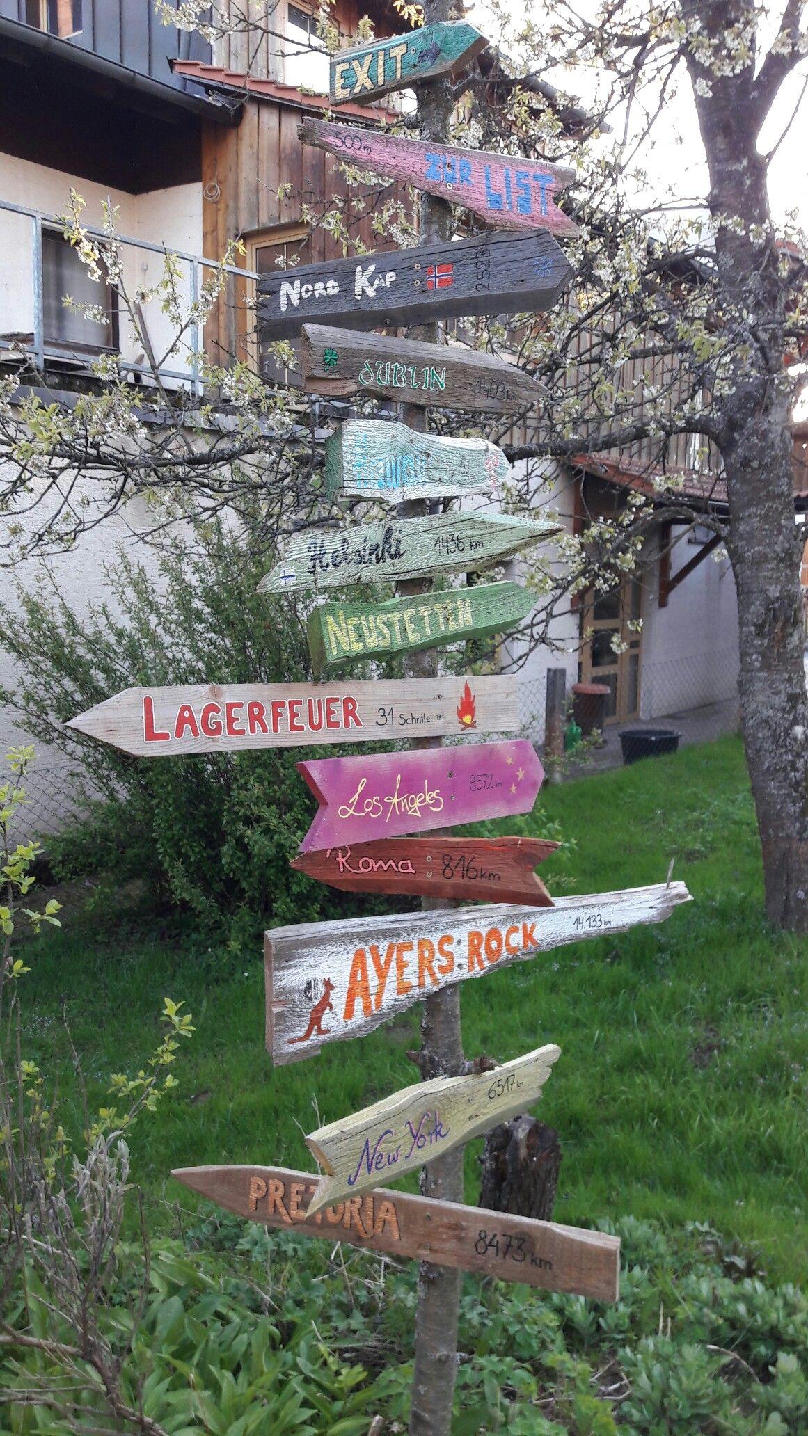 Wegweiser ❤ tolle Gartendeko und ja Ayers Rock zeigt in die falsche Richtung, muss ich bei Gelegenheit noch korrigieren #terassegestalten