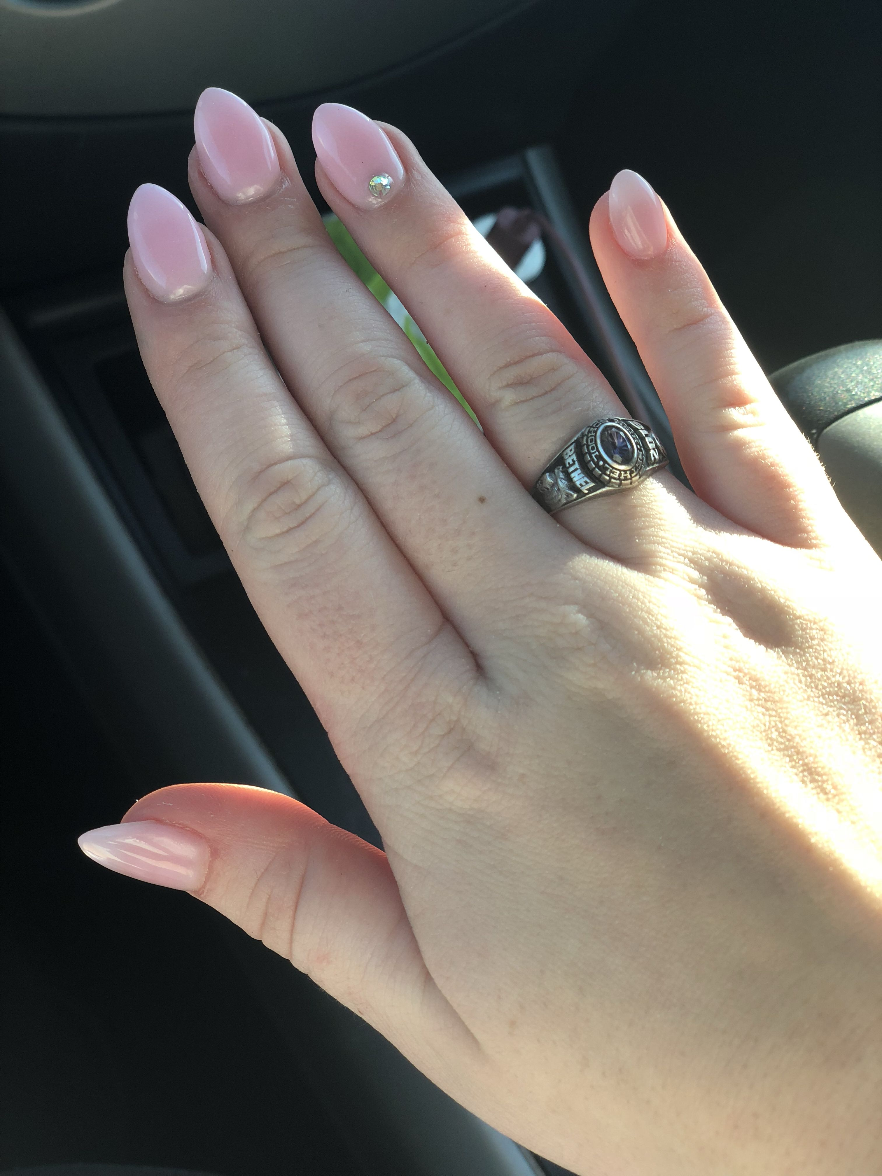 Pink dip powder, almond shape, and a little bling (With ...
