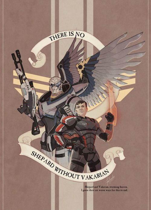 Garrus is Archangel, and I'll give him wings if I want to. ;) [Also, for the record, I like to imagine that the Turian concept of heaven is more or less like the human one, only with armaments (all of which need no end of calibrating) and alcohol. — And hopefully, for Garrus' sake, no spiders.]