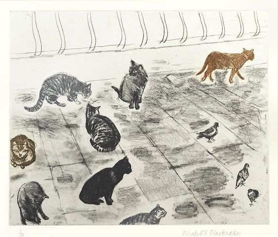 Dame Elizabeth Blackadder British Born 1931 Venice Cats From Cats Portfolio Etching With Aquatint Printed In Grey Cats Illustration Cat Art Cat Artwork