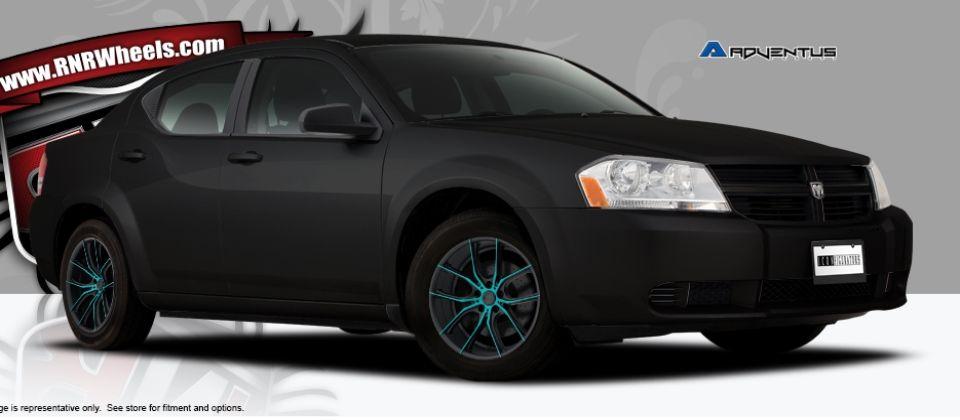 Shop Rnrwheels Com 2013 Black Dodge Avenger Base Adventus Avs 6 Turquoise Eek Dodge Avenger Dodge Avengers
