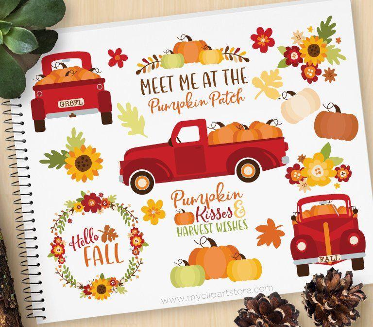 Pumpkin Truck Clipart, Thanksgiving, Farmhouse, Vintage ...