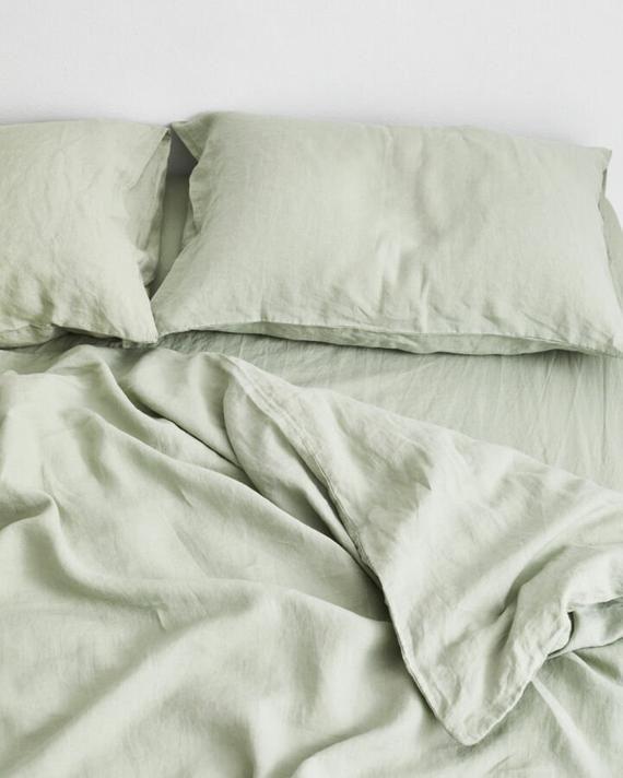 Moss Green Linen Duvet Cover With Pillow Covers Light Green Organic Linen Duvet Blush Green Sage Min Sage Green Bedroom Bed Linen Sets Neutral Bed Linen