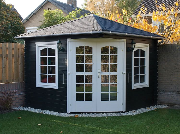 painted kyra corner log cabin retailers in uk and eu. Black Bedroom Furniture Sets. Home Design Ideas