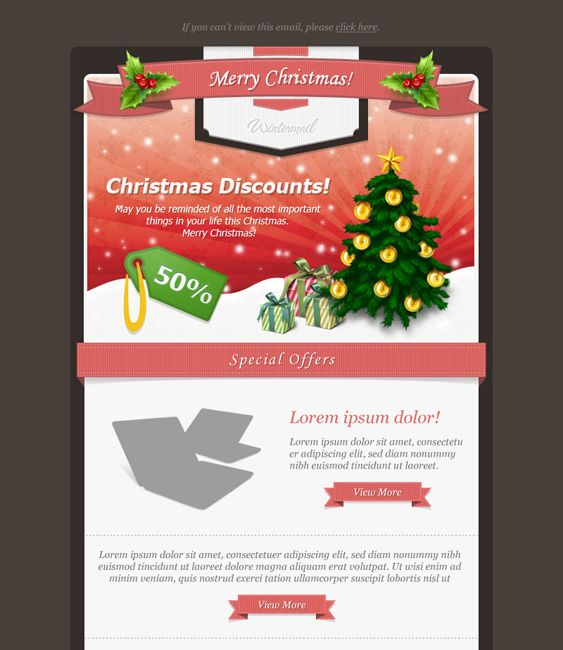 This Christmas email newsletter template offers 4 header designs ...