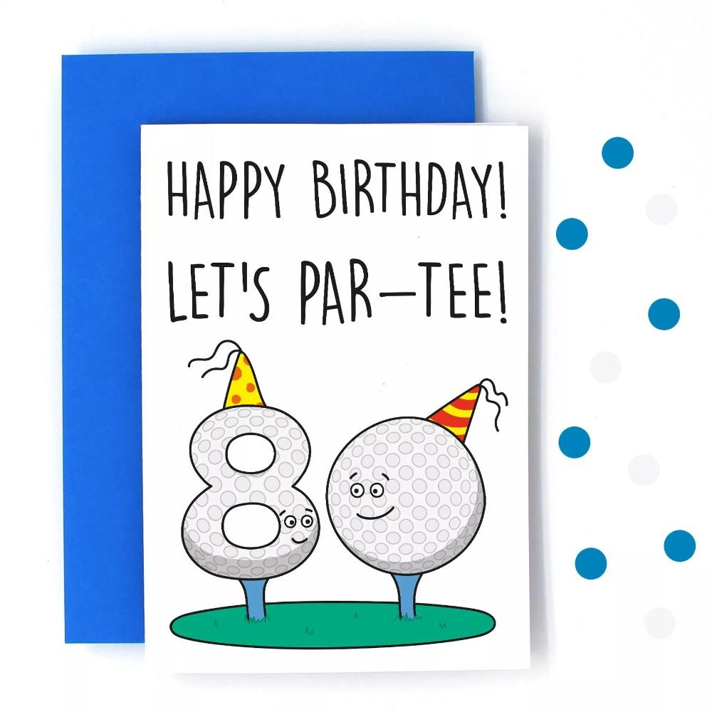 80th Golf Birthday Card Golf Birthday Cards Birthday Cards For Son 80th Birthday Cards