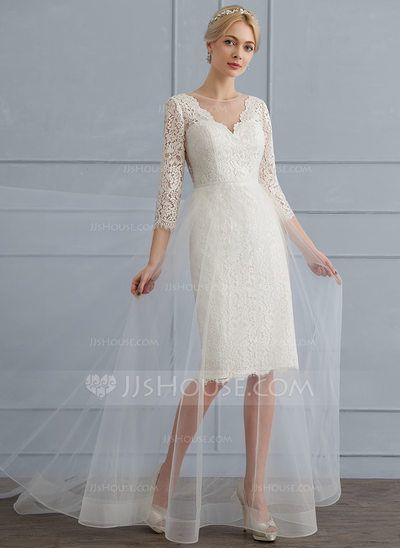 US$ 156.69] A-Line/Princess Scoop Neck Sweep Train Tulle Lace ...