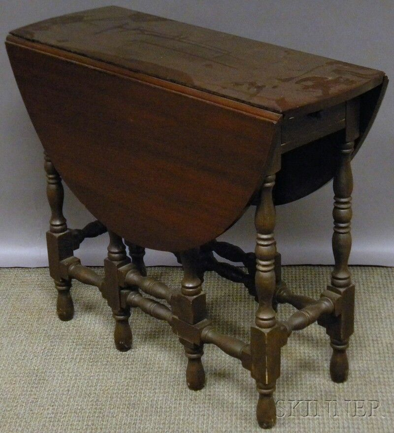 William Mary Style Mahogany Drop Leaf Gate Leg Table With End