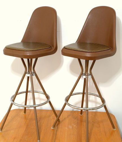 Set 4 Vtg 60s 70s Mid Century Modern Atomic Bar Stools Space Age