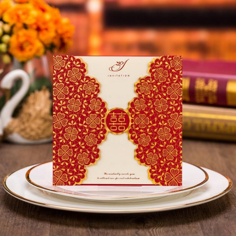 50pcs pack Romantic Wedding Party Event Invitation Card Red Golden - invitation card event