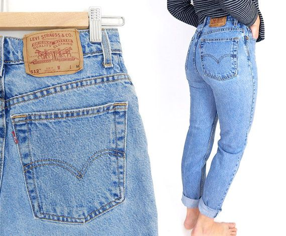 d6b7018c80b Vintage 90s High Waisted Levi's 512 Slim Fit Jeans - Size 6 / 7 - Women's  Tight Tapered Leg Stone Washed Light Blue Denim Mom Jeans