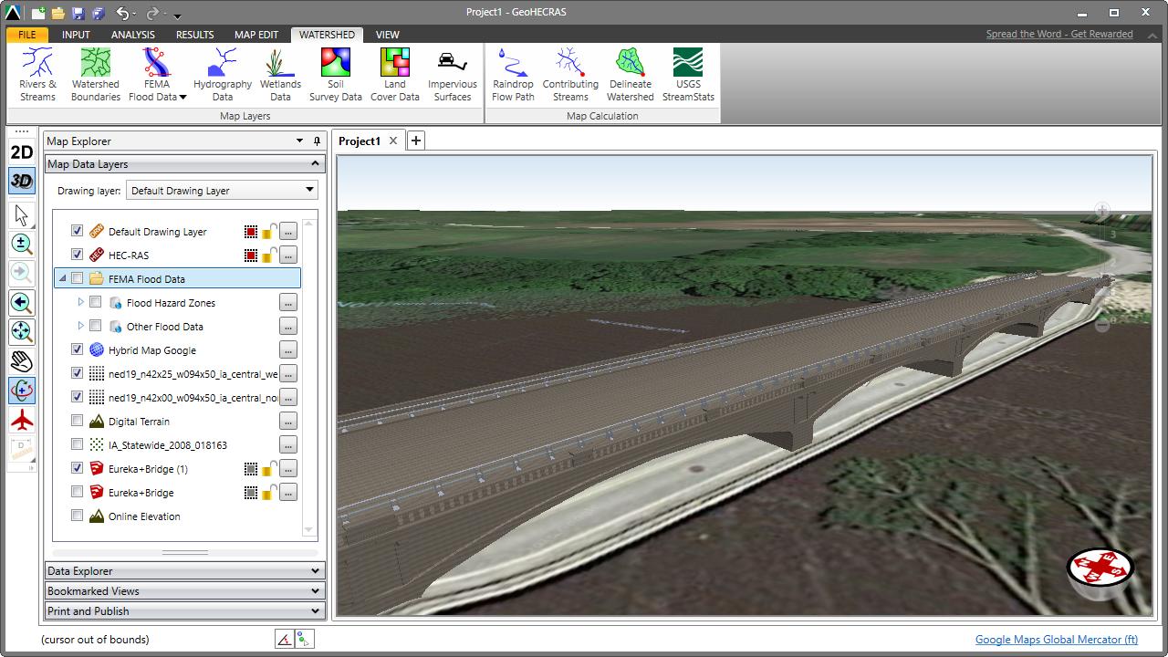 HEC-RAS 3D visualization of the Eureka Bridge  The Eureka Bridge is