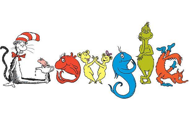 Los garabatos clásicos personajes del Dr. Seuss, como el gato en el sombrero y el Grinch, para formar las letras del logotipo. Fuente: Time