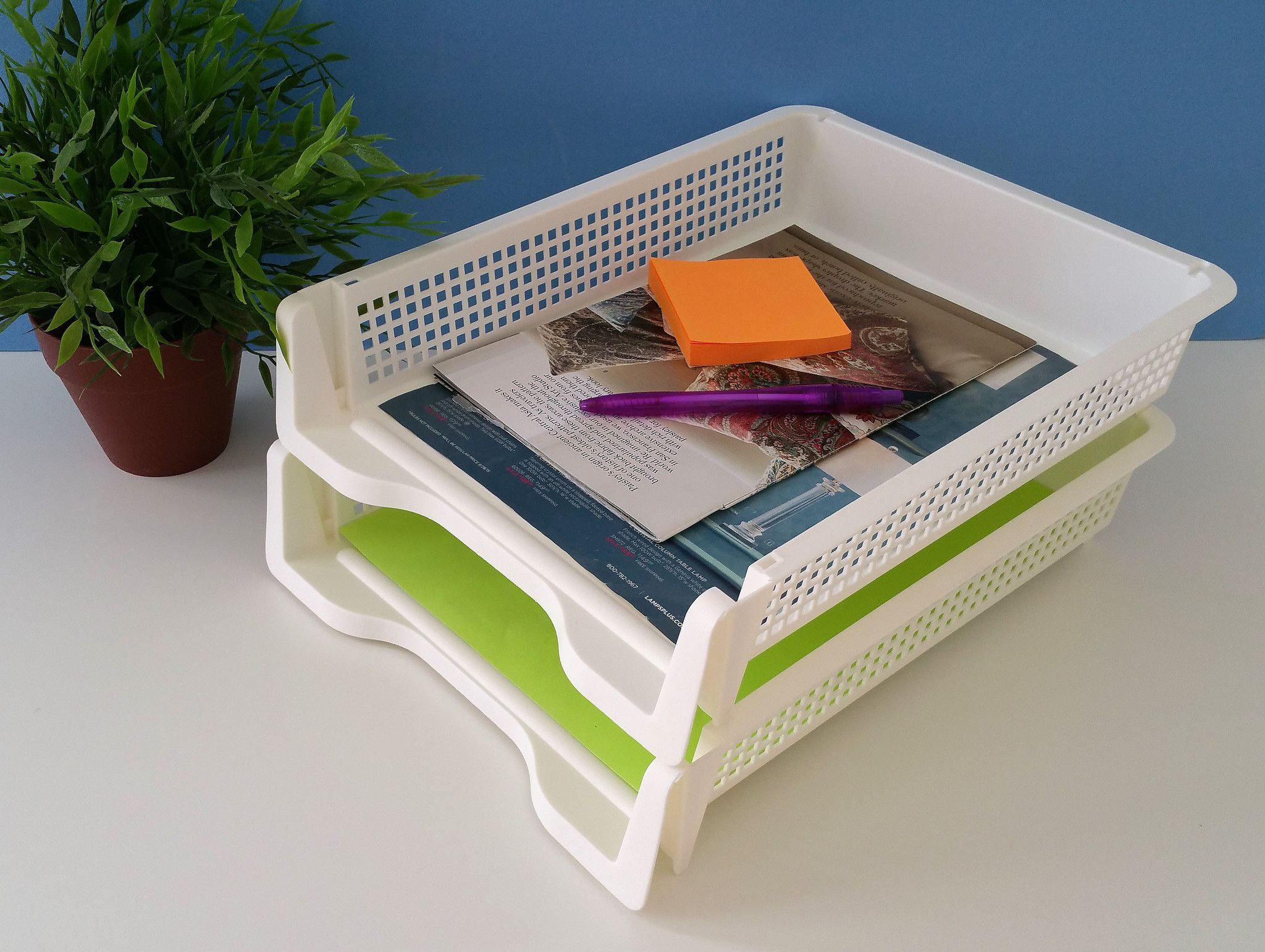 Premium Plastic Desk Organizer- Stackable A4 Paper Tray - Pack of 2