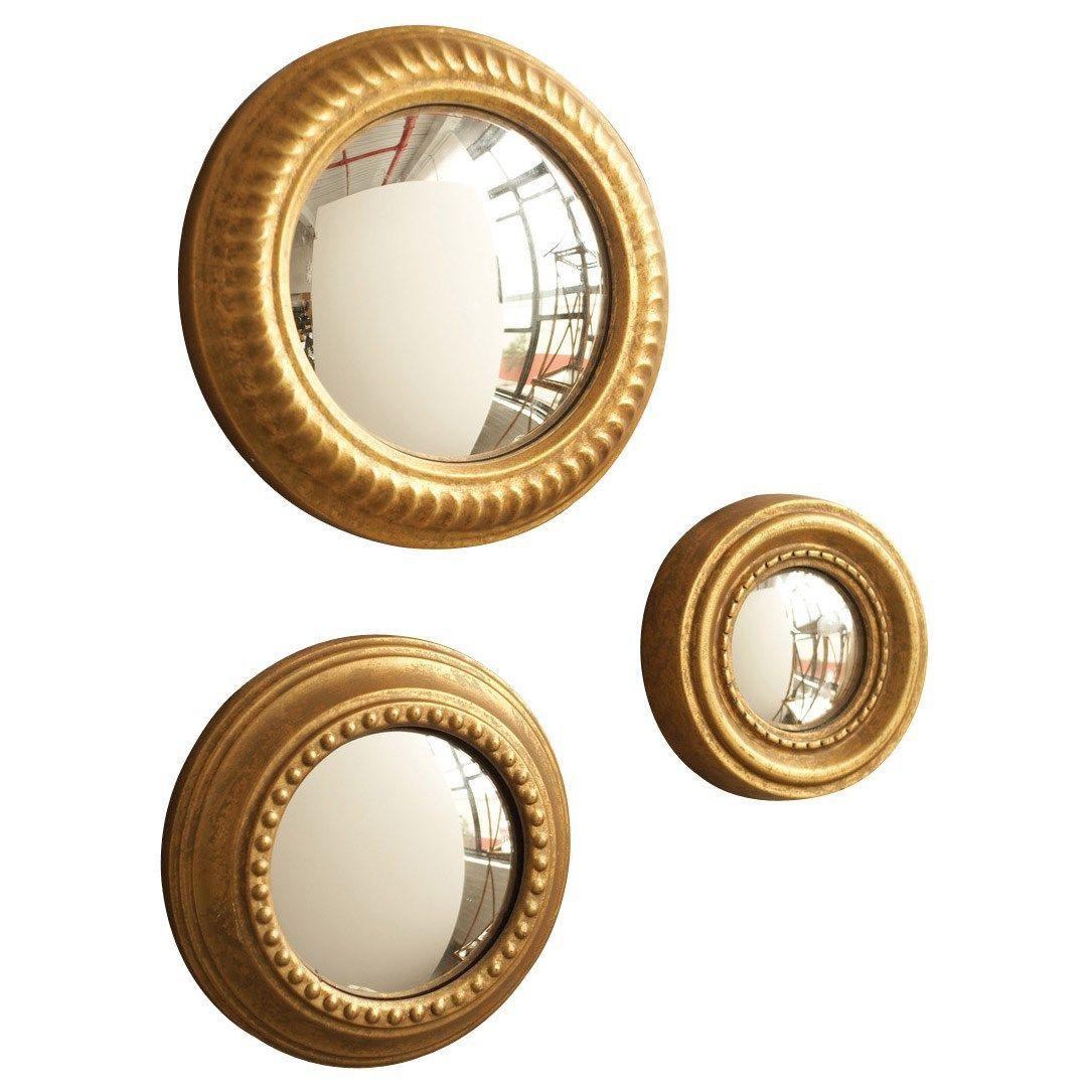 Gold leaf convex wall mirror set of 3 laylagrayce mirror gold gold leaf convex wall mirror set of 3 laylagrayce mirror gold amipublicfo Gallery