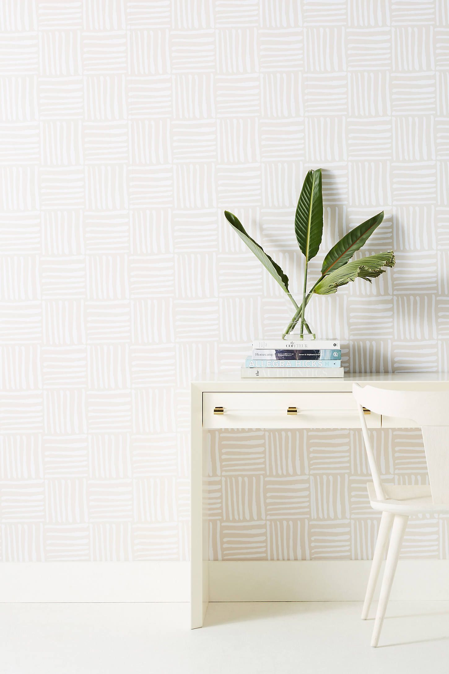 Hatch Wallpaper by Mitchell Black in Beige, Wall Decor at