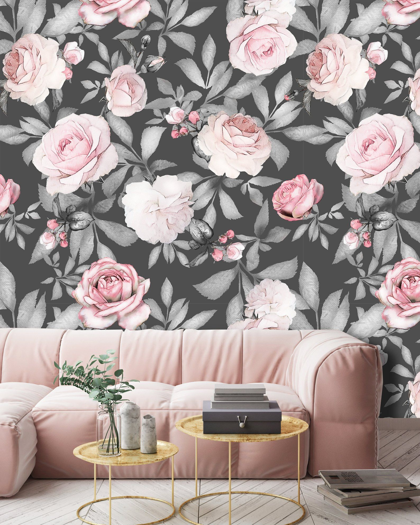 Removable Peel And Stick Wallpaper Watercolor Floral Peony