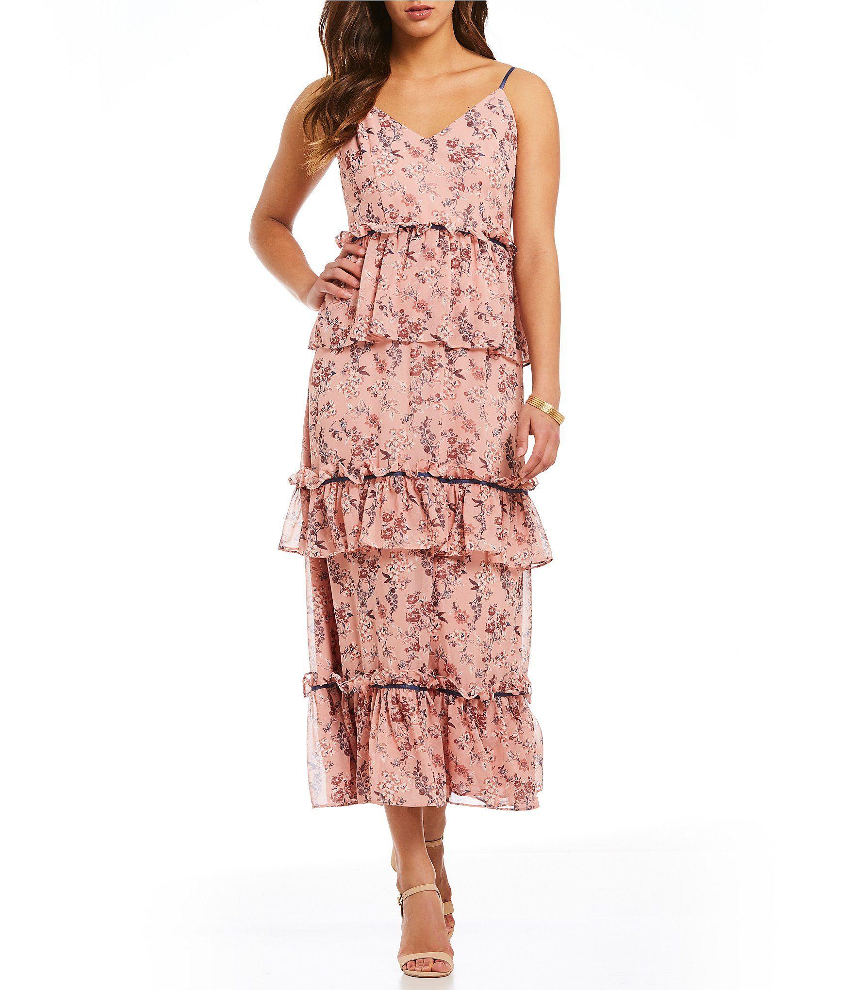34ddf007fe2 Gianni Bini Steph Ditsy Floral Print Victorian Tiered Ruffle Midi Dress   Dillards