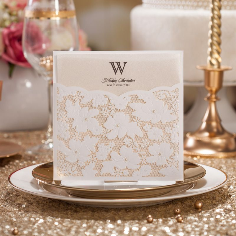 printable wedding place cards vintage%0A   pcs lot Laser Cut Wedding Invitations Card Elegant White Square Flower  with Small Pearl Lace