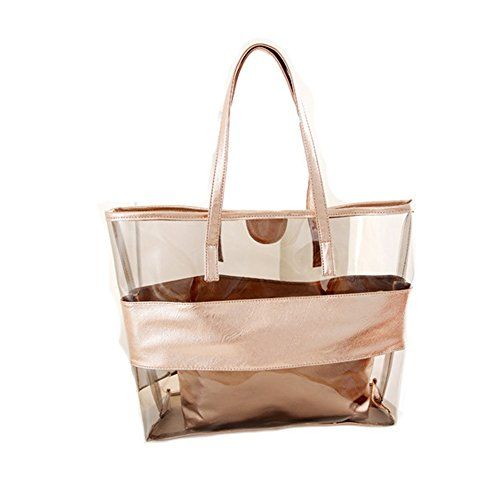 Qianbo Women S Perspective Beach Top Shoulder Two In One Bag Jelly Handbag Champagne Jiyaru Http Www Co Uk Dp B00vftag2m Ref