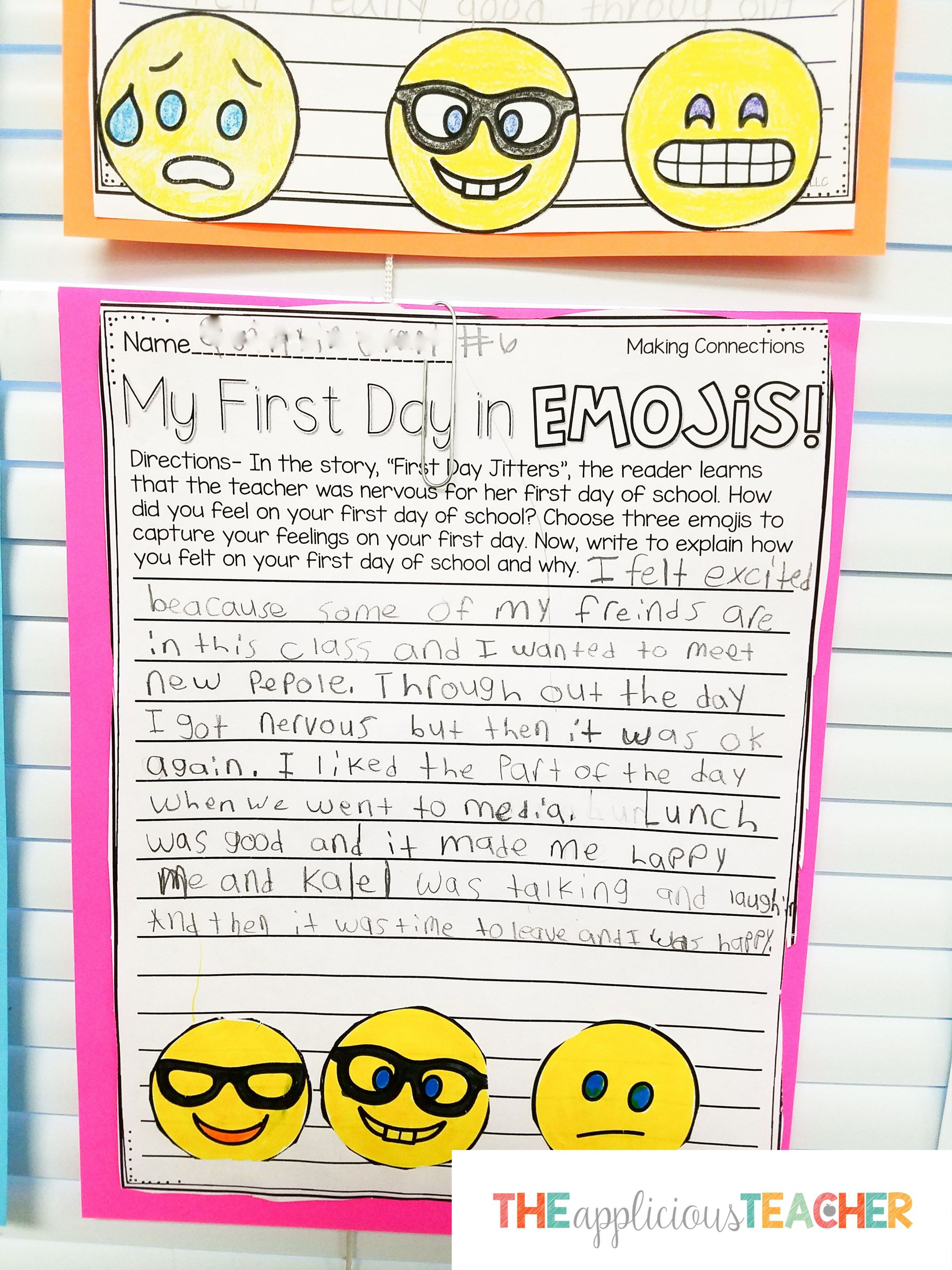 First Day Jitters Emoji Writing Activity For Back To School Back