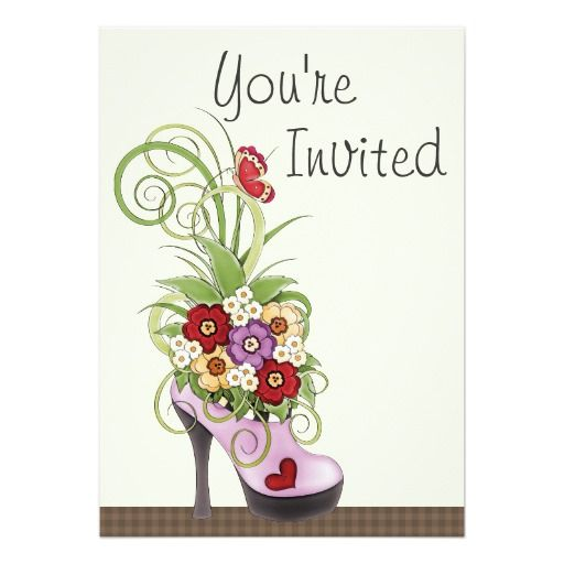 High Heel Shoe and Flowers Birthday Invitation