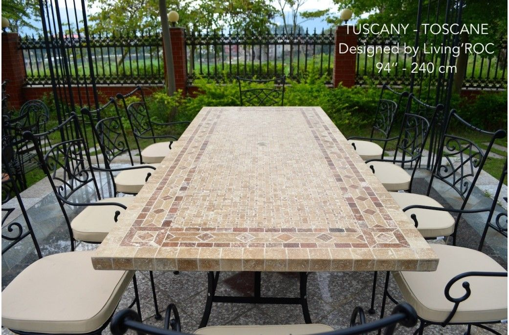 78 Outdoor Patio Dining Table Italian Mosaic Stone Marble
