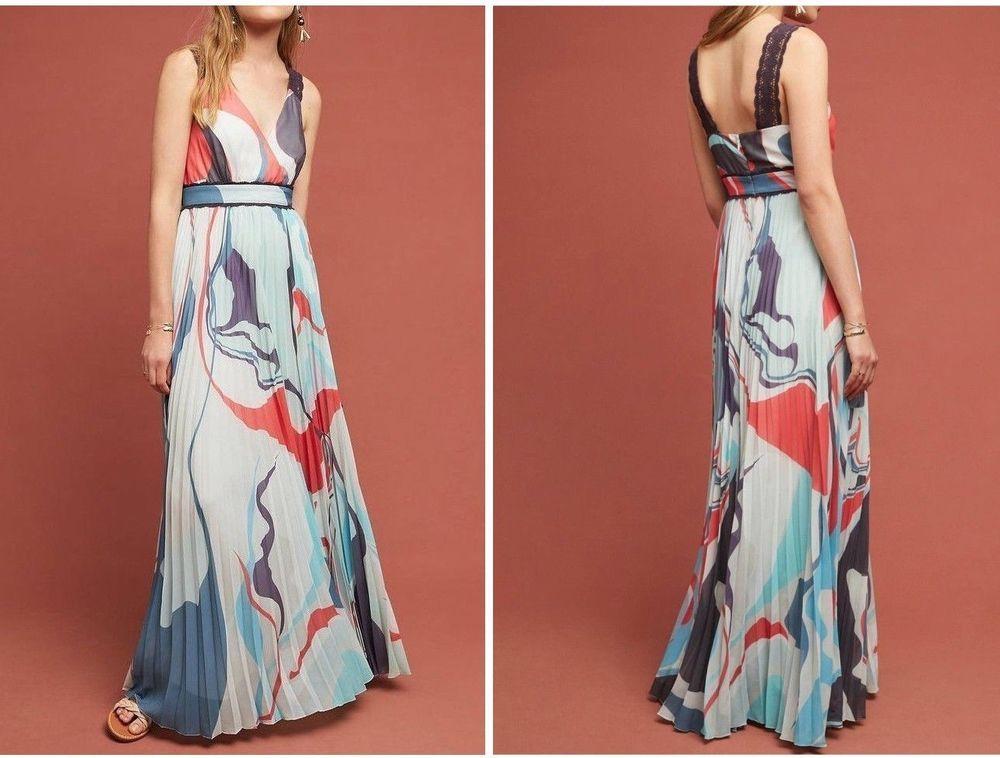 c025586062e Anthropologie Pleated Atelier Maxi Dress by Geisha Designs Sz 8 - NWT   Anthropologie  MaxiDress
